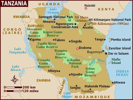 Mapoftanzaniajpg - Where is tanzania located